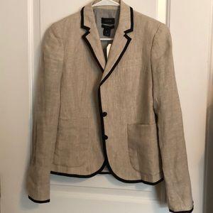 J. Crew Schoolboy Linen Blazer sz 0 Black trim